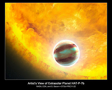Transiting exoplanet HAT-P-7b (artist's impression)