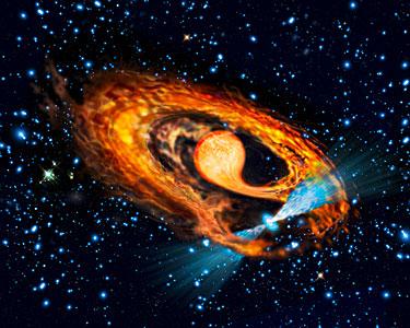 Artist's impression of millisecond pulsar and companion