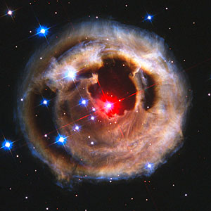 Hubble watches light echo from mysterious erupting star (October 2002 image)