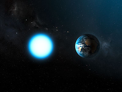 Artist's impression of the sizes of Sirius B and the Earth