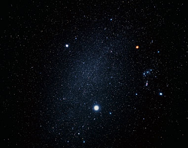 Ground-based image of Orion, Canis Minor and Canis major (ground-based image)