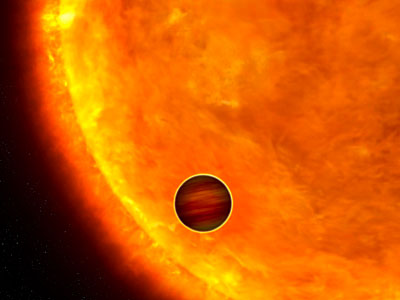 Artist's impression of a transiting extrasolar planet