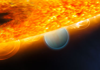 Planet eclipse allows for detection of carbon dioxide (artist's impression)