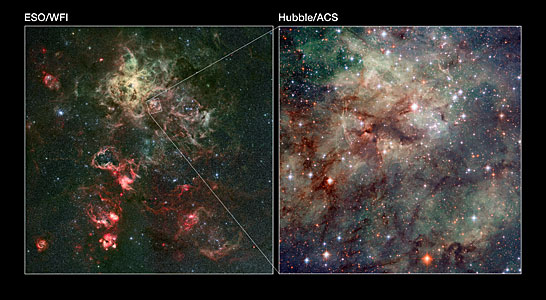 Wide-field and close-up views of the Tarantula Nebula