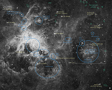 Labelled view of the Tarantula Nebula