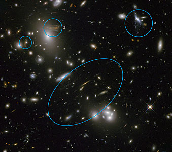 Annotated Hubble image of Abell 68
