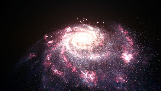 Artist's impression of a galaxy undergoing a starburst