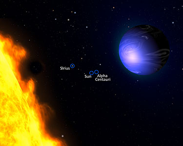 Exotic blue planet HD 189733b (labelled artist's impression)