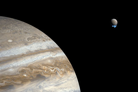 Water vapour plumes on Jupiter's moon Europa (artist's impression)