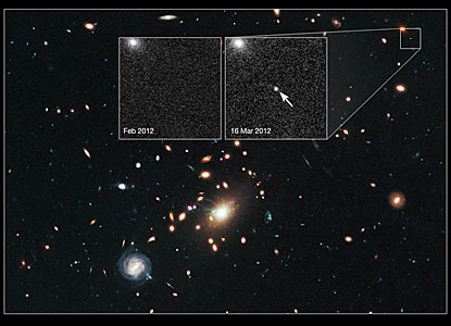 Cosmic lens RXJ1532.9+3021 helps Hubble to find a distant supernova (annotated)