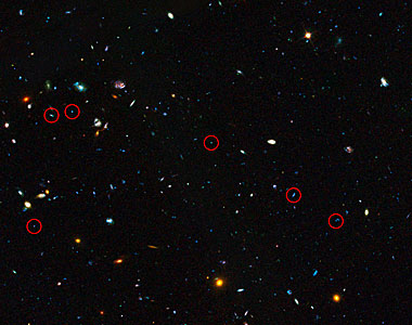 GOODS field containing distant dwarf galaxies forming stars at an incredible rate (annotated)