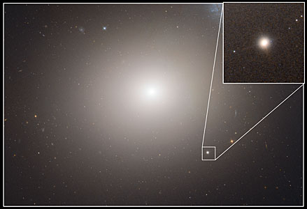 Hubble image of Messier 60 and M60-UCD1