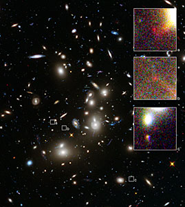 Abell 2744 and three images of a distant galaxy