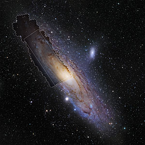 Wide-field view of the Andromeda Galaxy showing the extent of the PHAT survey
