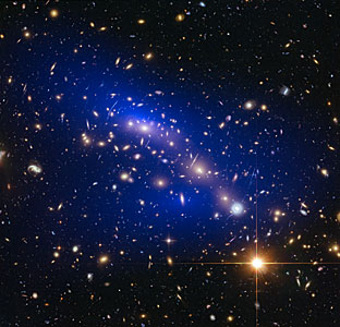 Galaxy cluster MACS J0416.1–2403 with dark matter map
