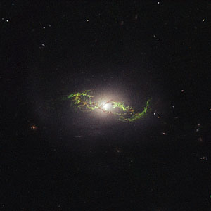 Hubble view of green filament in galaxy NGC 5972