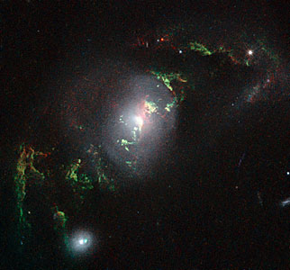 Hubble view of green filament in galaxy UGC 7342