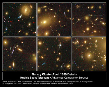 Hubble Looks Through Cosmic Zoom Lens (6 cropped images)