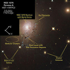 NGC 1275 - Labeled Features