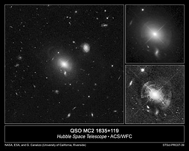 Shells of Stars Ring Quasar in Giant Elliptical Galaxy