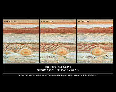 Three Red Spots Mix It Up on Jupiter