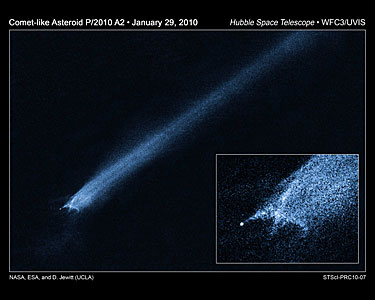 Hubble views of comet-like asteroid P/2010 A2