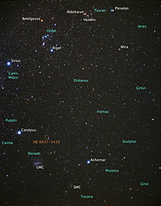 Location of hypervelocity star HE 0437-5439 (ground-based image)