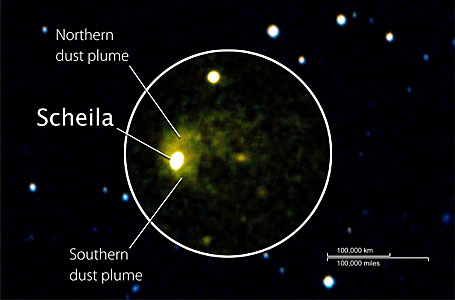 Swift image of asteroid (596) Scheila