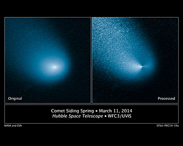 Hubble Sees Mars-Bound Comet Sprout Multiple Jets