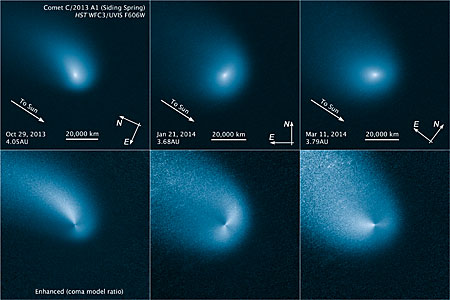 Comet Siding Spring comparison of enhanced and original images
