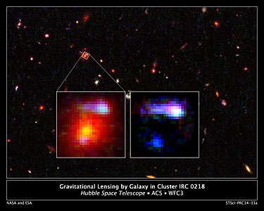 Gravitational lensing by galaxy in cluster IRC 0218, annotated