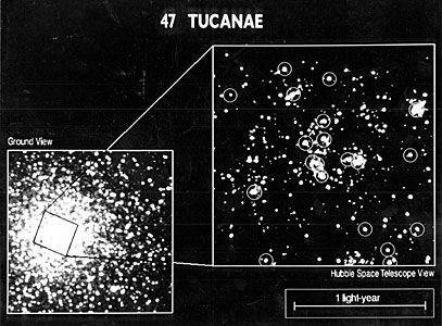 47 Tucanae Core - Ground Based vs. HST Resolution
