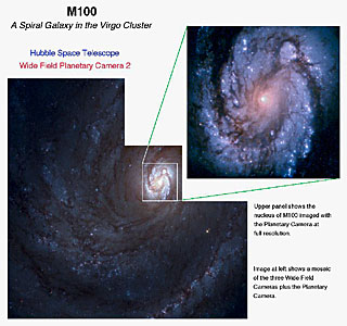 The Spiral Galaxy M100 as Seen With the Hubble's Improved Vision