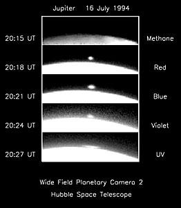 Hubble Sees Comet Fireball on Limb of Jupiter