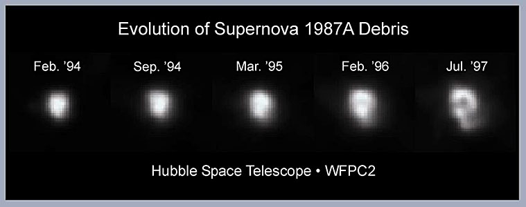 Evolution of debris in supernova 1987A