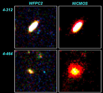 Blue galaxies on WFPC2 field not detected with NICMOS
