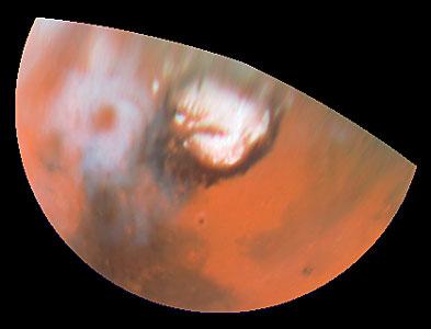 Hubble Views Collossal Polar Cyclone on Mars