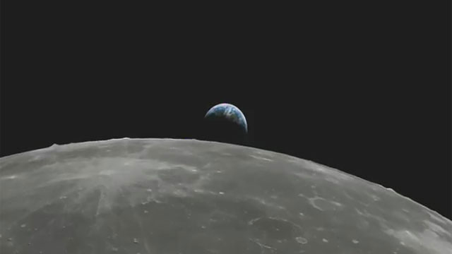 Flight over Moon towards the Earth