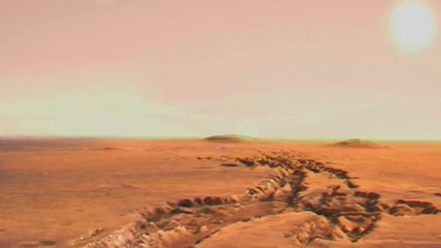 Flight over craters and canyons on Mars