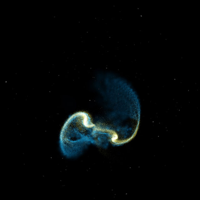 Fulldome simulation of colliding galaxies