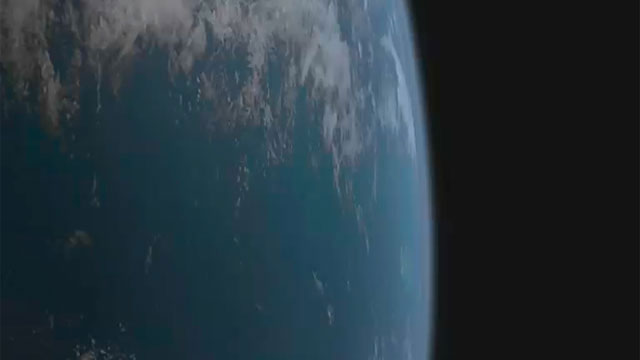 The NASA/ESA Hubble Space Telescope over the Earth passes the camera