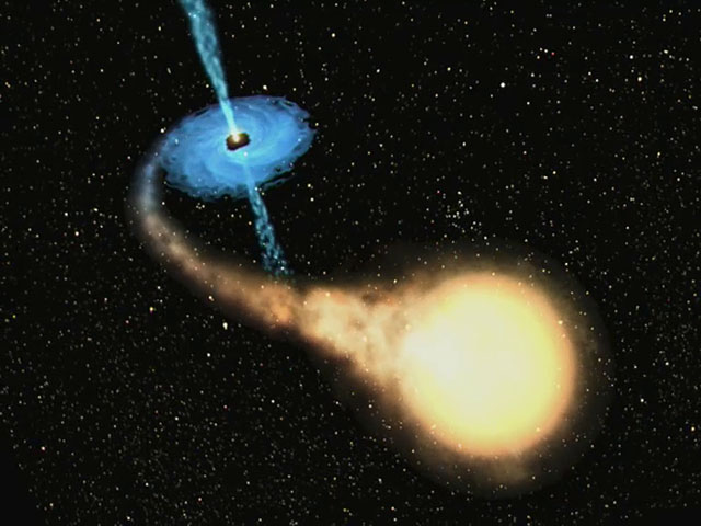 Black hole and companion star = Microquasar GRO J1655-40  (artist's impression)