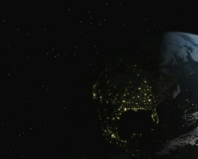 Earth with city lights (artist's impression)