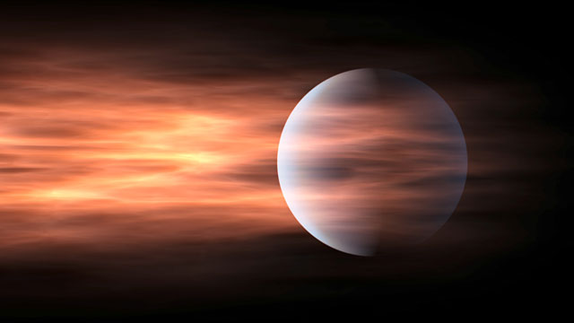 Atmosphere escaping an exoplanet (artist's impression)