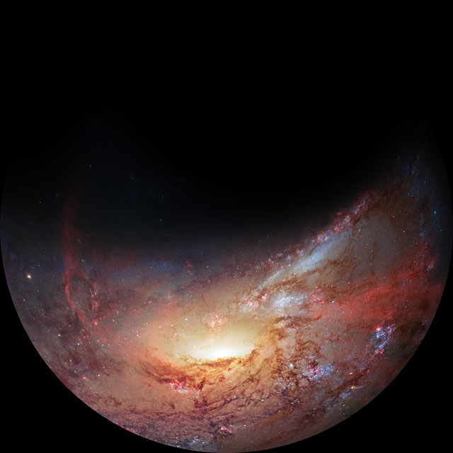 A fulldome view of M106's hungry heart