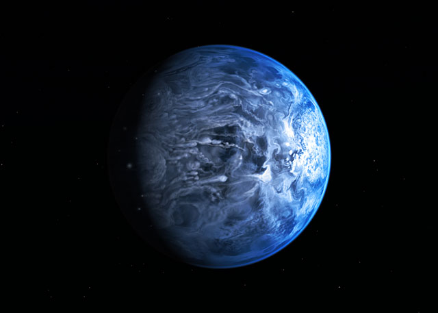 Blue planet HD 189733b around its host star (artist's impression)