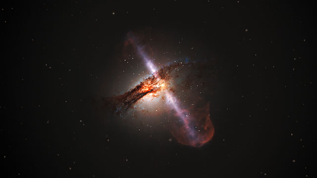 Artist's animation of galaxy with jets from a supermassive black hole