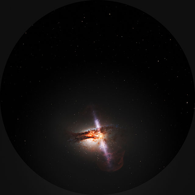 Fulldome clip showing animation of galaxy with jets from a supermassive black hole