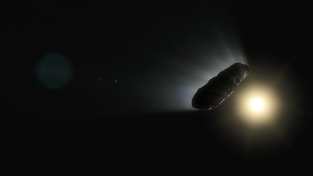 Animation Of  Oumuamua Outgassing And Rotating