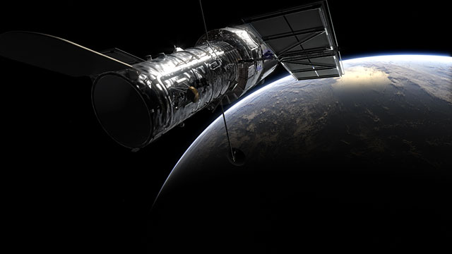 Hubble over Earth (artist's rendering)